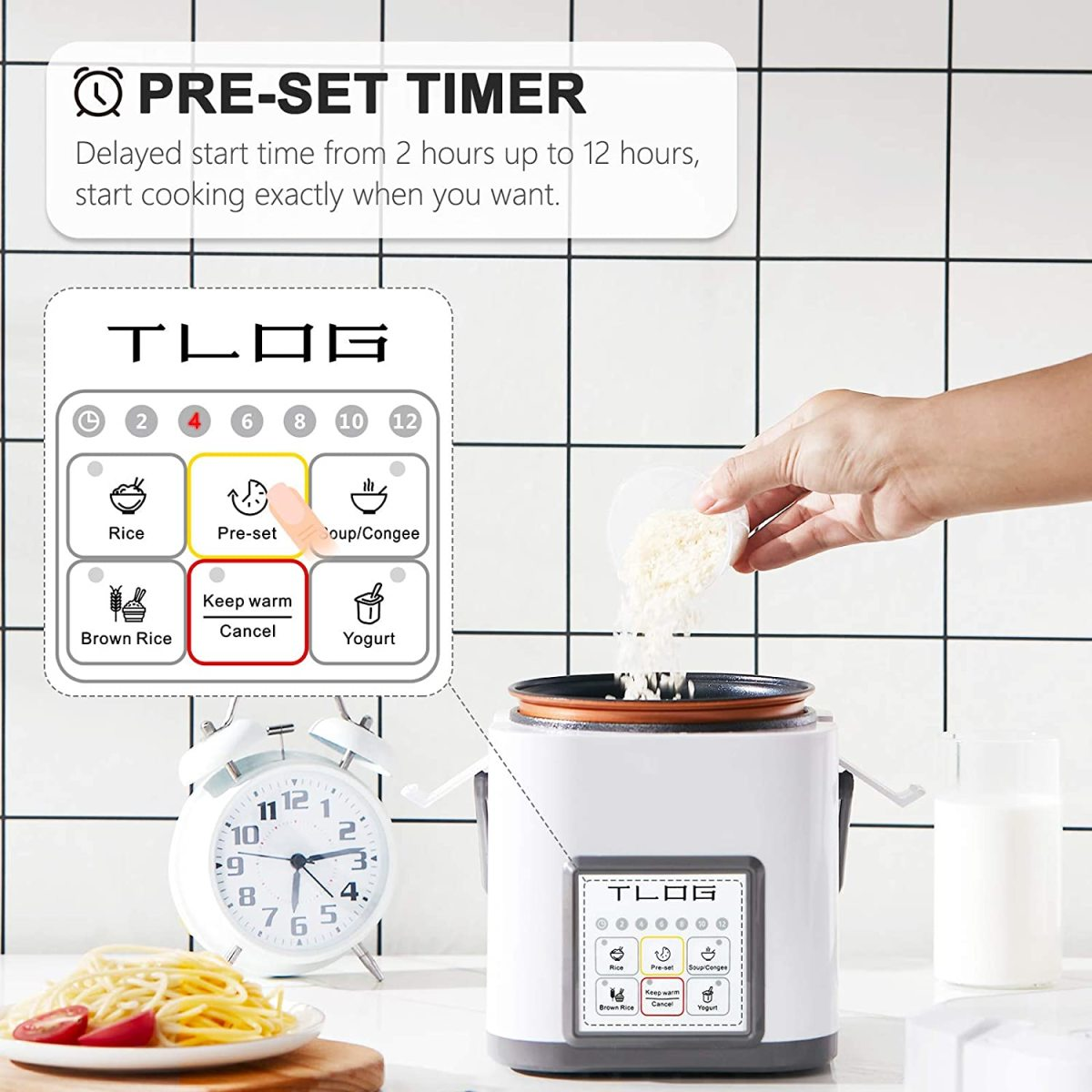 The TLOG Mini Rice Cooker has a preset feature. Cooking can be delayed between 2 to 12 hours in two-hour increments