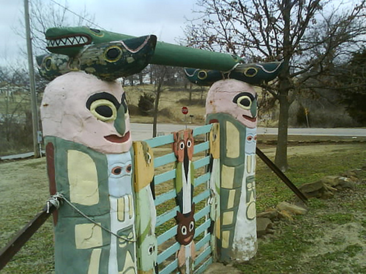 Totem Pole Park; A Tribute to American Indian History: The Gate at the Entrance to the Park.