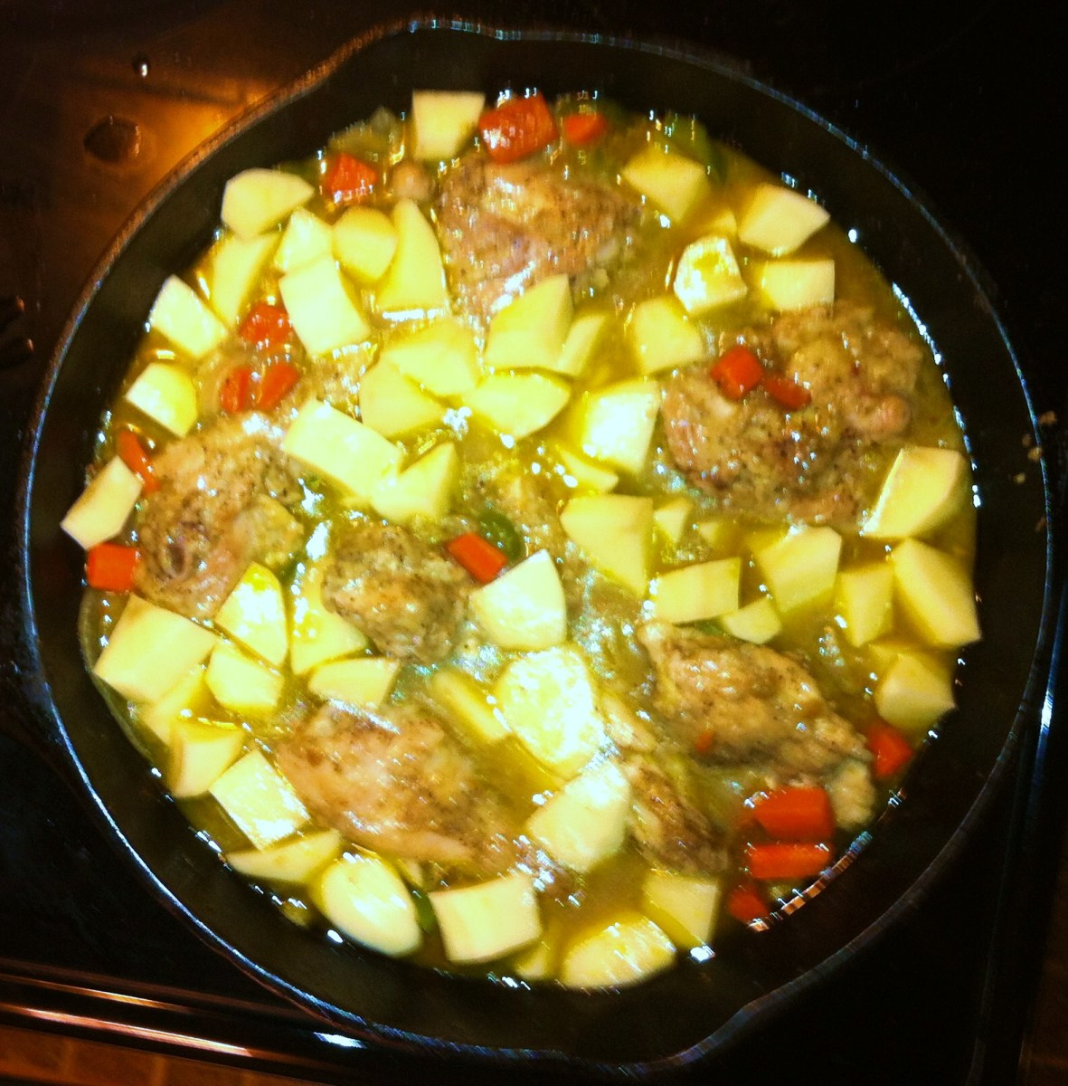Add Potatoes, Cover & Cook for an Additional 20 minutes, Stir Occasionally.