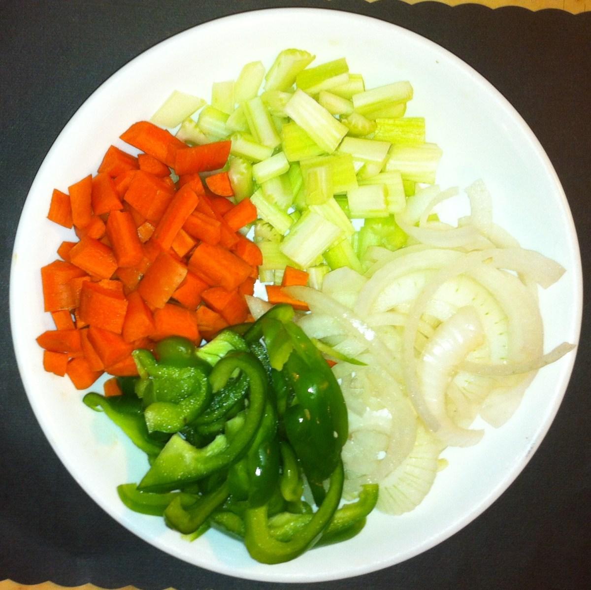 Carrots, Onions, Celery & Bell Pepper