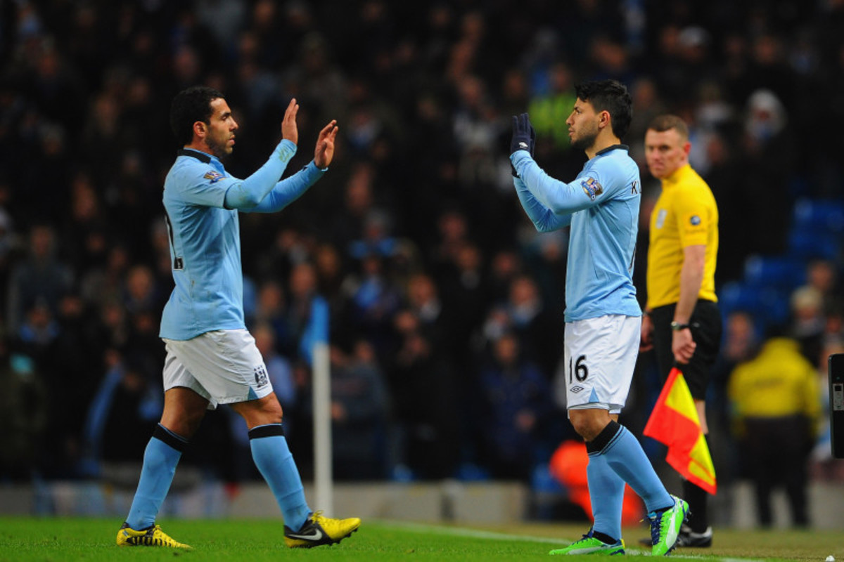 Manchesster City's Carlos Tevez been subbed off for Kun Aguero.