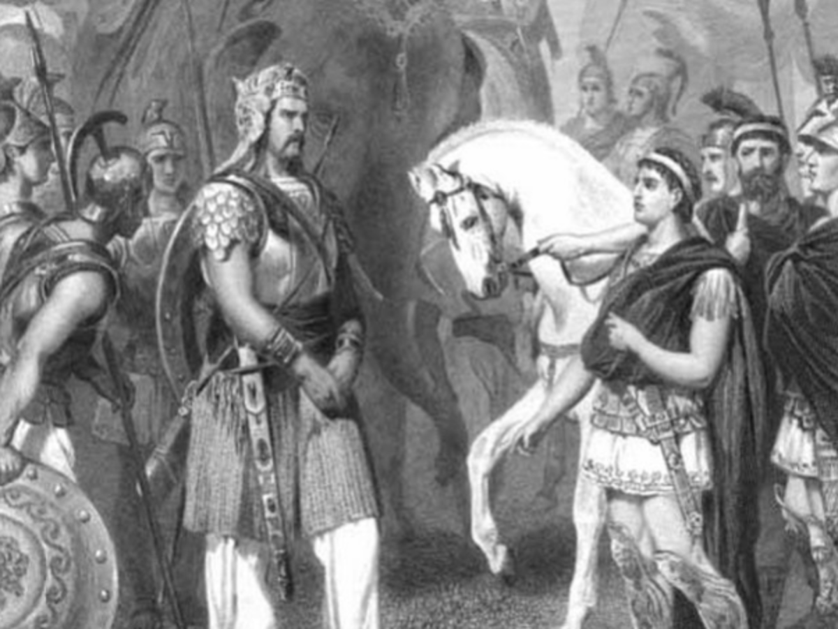 Alexander and Porus meet after Alexander conceded.