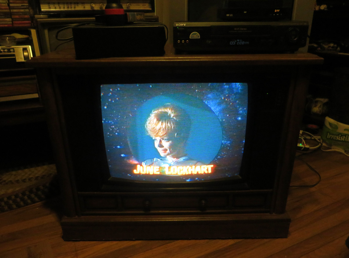 June Lockhart Looking Good on the Crosley Color Television She Played Maureen Robinson in the television show Lost in Space, this episode was: The Great Vegetable Rebellion