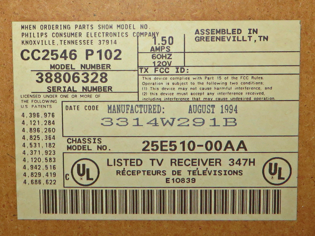The description label beautifully printed,  and placed and proudly stating where the Crosley Color Television Model CC2546-P102 was assembled, which was in Greenville Tennessee, and was manufactured August 1994.