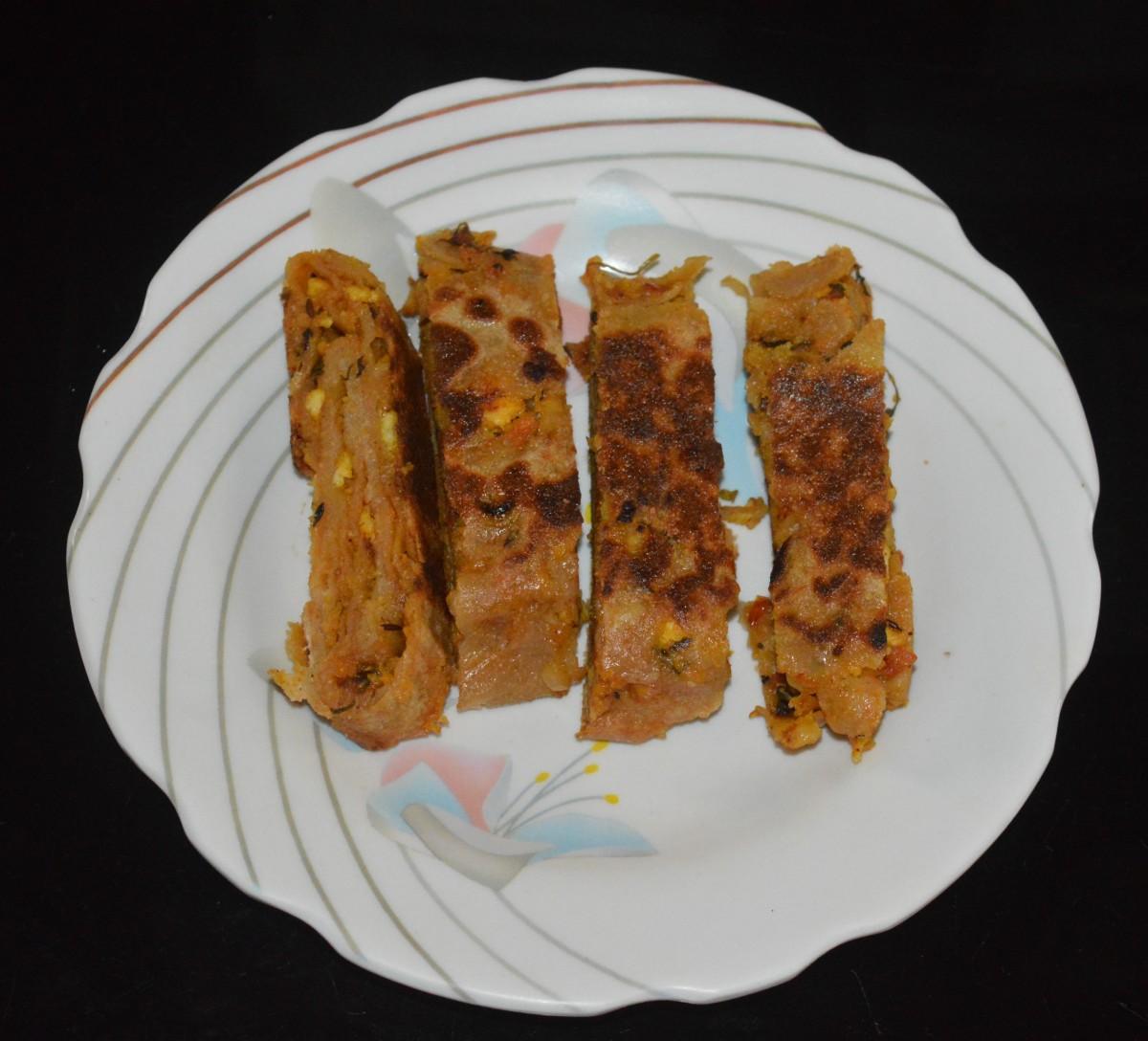 Slice them horizontally at 1-inch intervals.
