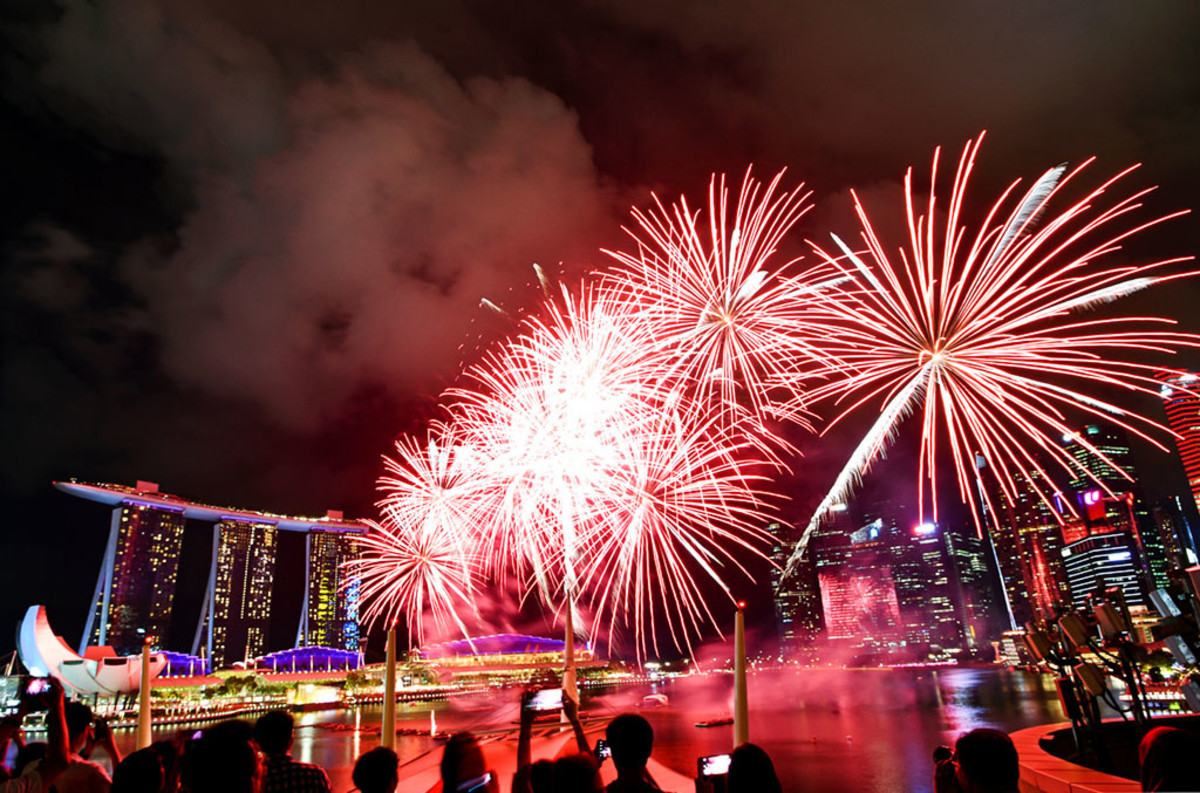 Festive fireworks over Marina Bay.