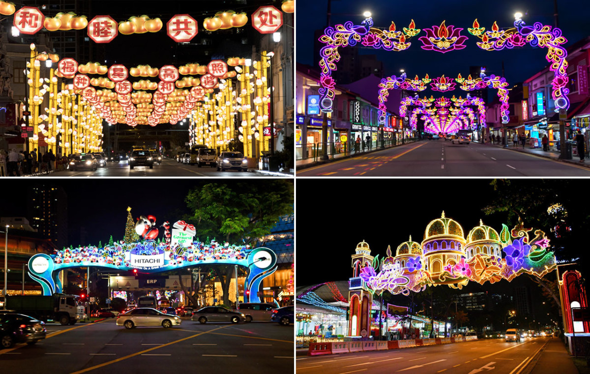 Ethnic celebrations in the Lion City. Clockwise from top left: Chinatown Lunar New Year Light-Up, Little India Deepavali Light-Up, Geylang Serai Hari Raya Puasa Light-Up, and Orchard Road Christmas Light-Up.