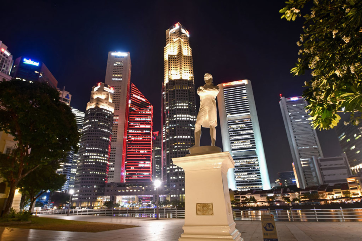 """Raffles Landing Spot"" at the Singapore River."