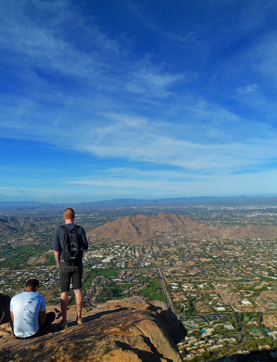 Hiking an urban trail - Camelback Mountain - in the City of Phoenix, AZ.