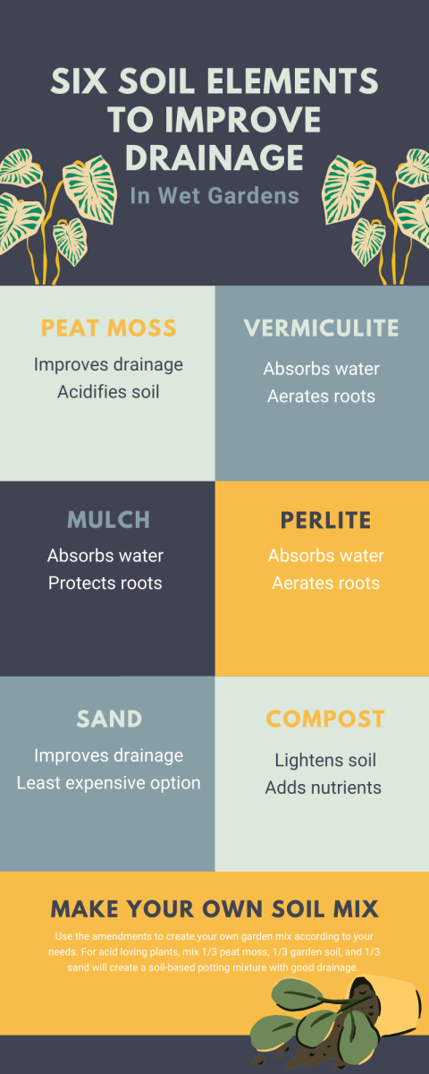If your soil always seems a little too wet, there are several easy amendments you can make to help improve drainage.
