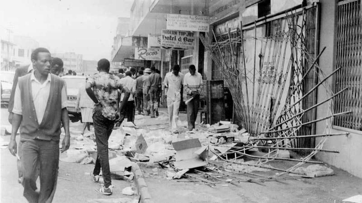 The aftermath of the 1982 attempted coup.