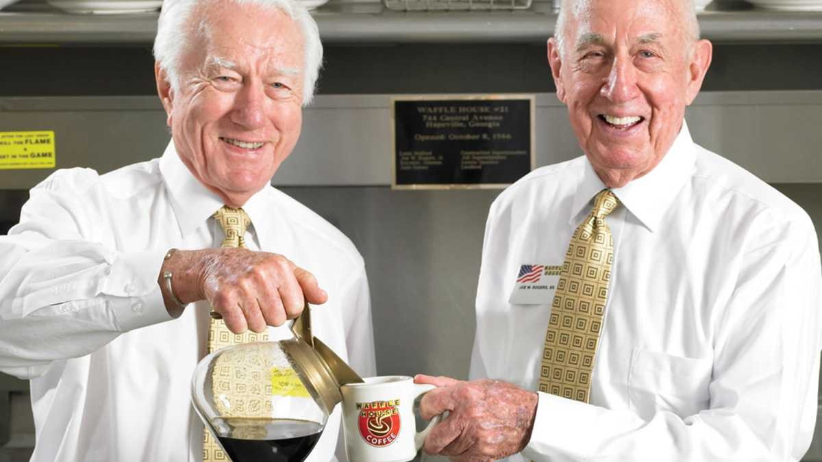 In 1955, Joe Rogers and Tom Forkner opened the first Waffle House restaurant in the Atlanta suburb of Avondale Estates.
