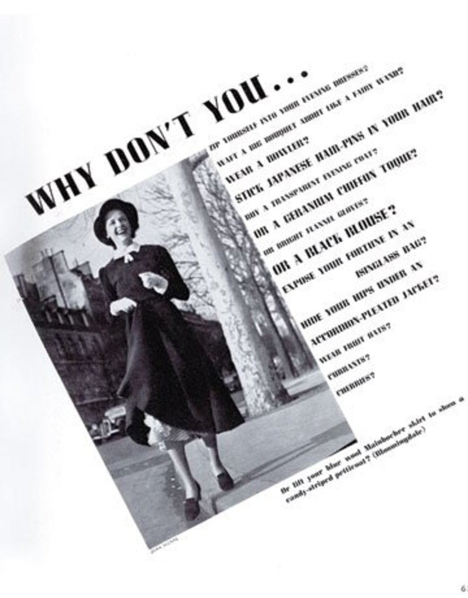 """One of Vreeland's """"Why Don't You?"""" columns for Harper's Bazaar"""