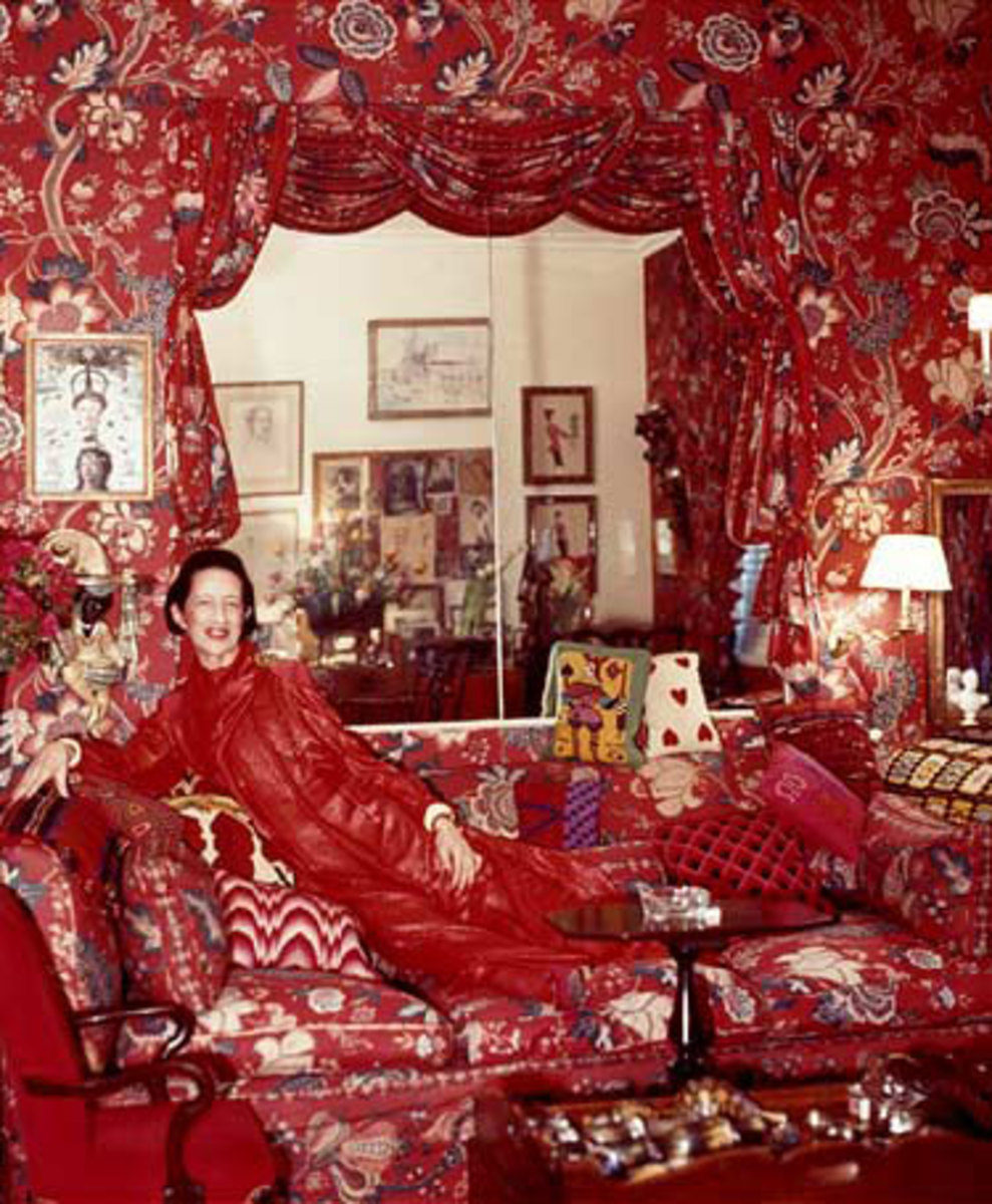 "Vreeland in her Billy Baldwin designed ""Garden in Hell"" apartment"