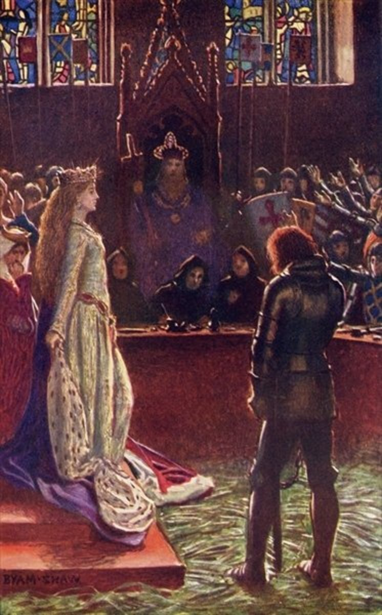 """""""Sir Lanval's Lady Appeals to the Judges"""" Byam Shaw."""