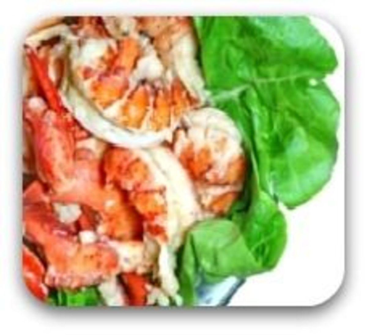 Lobster Meat on Lettuce