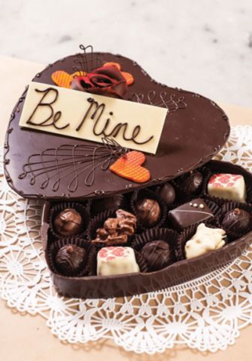 A box made of chocolate that contains chocolate is a bit over the top, but that's okay for Valentine's Day.