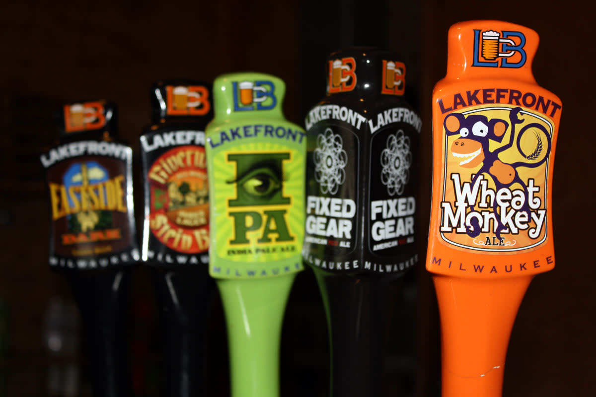 Taps at one of Milwaukee's breweries, Lakefront.
