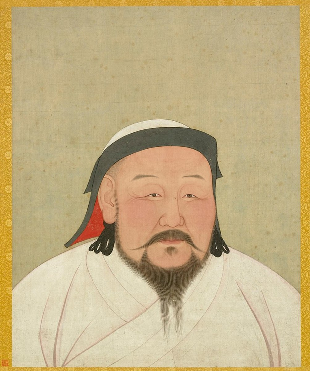 Portrait of Kublai Khan by artist Araniko, drawn shortly after Kublai's death in 1294. His white robes reflect his desired symbolic role as a religious Mongol shaman.