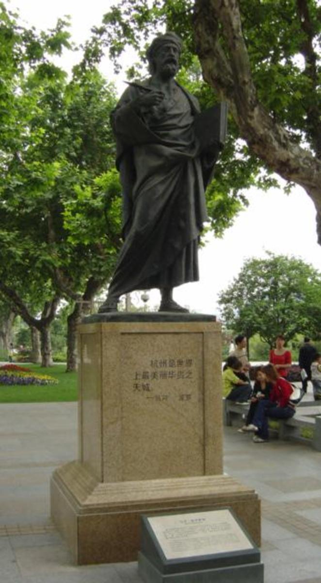 Statue of Marco Polo in Hangzhou, China