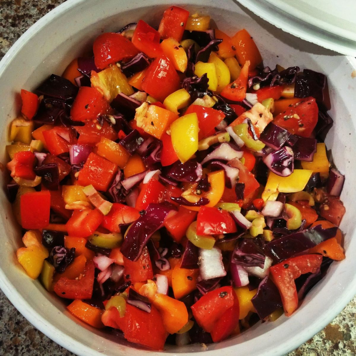 Prepare your salad directly into a casserole dish with a lid. The food will last longer and it creates less waste—no bowl covers or plastic needed.