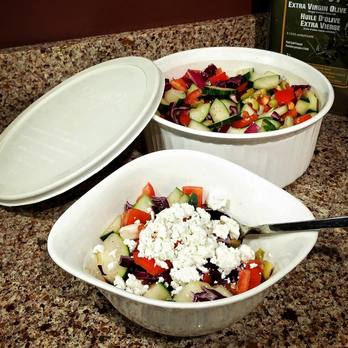 Scoop your Greek salad into a beautiful bowl, but leave room for some extras!