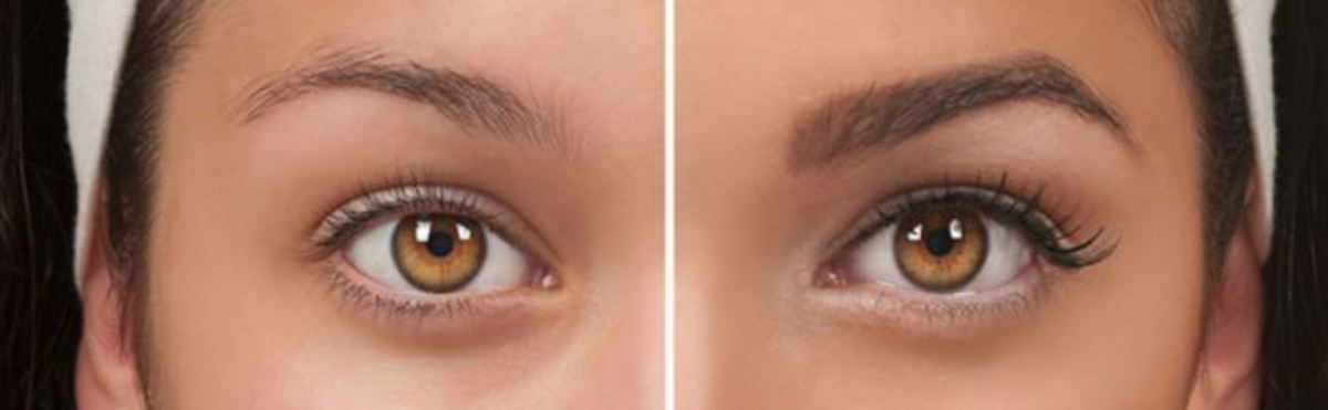 Example of how much of a difference filling in your eyebrows can make.
