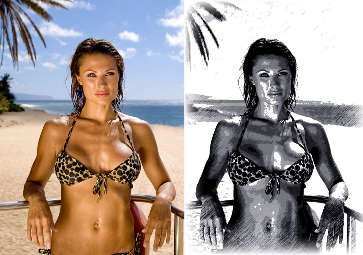 On the left is a stock photo of a woman in a bikini. On the right is the same image made to look artistic using a few Photoshop effects. Which one would be easier to make an argument for as art?