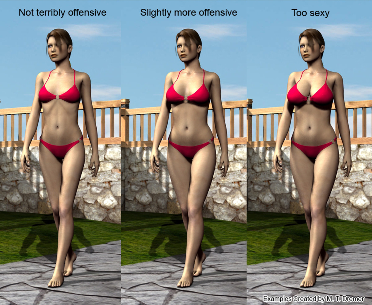 I've enlisted the help of Victoria, a morph-able 3D model, to illustrate my point. Just by making subtle modifications to body shape, the image becomes progressively more inappropriate. Sorry, curvy ladies, but you were born offensive.