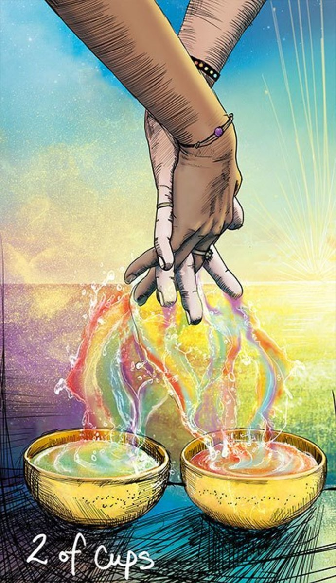The Two of Cups is about allowing yourself to be seen. You're not trying to hide. You're not putting on a mask. You allow love to be your guide. Your self-acceptance has invited a like-minded person into the mix.