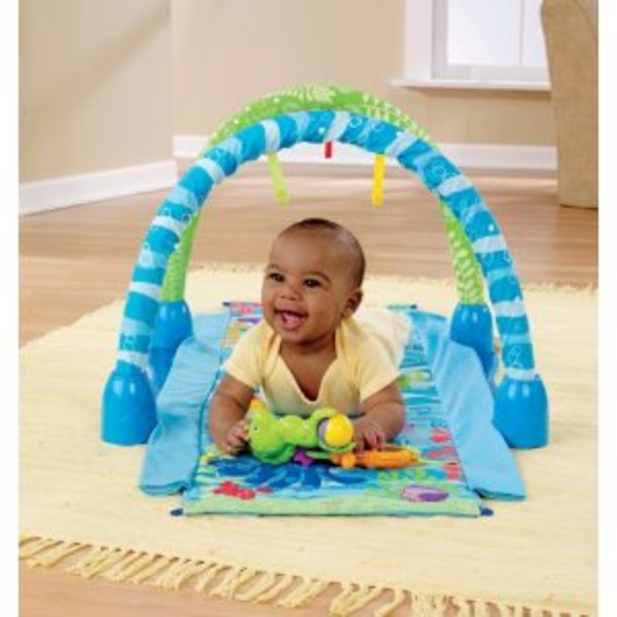 A tummy play toy for older babies