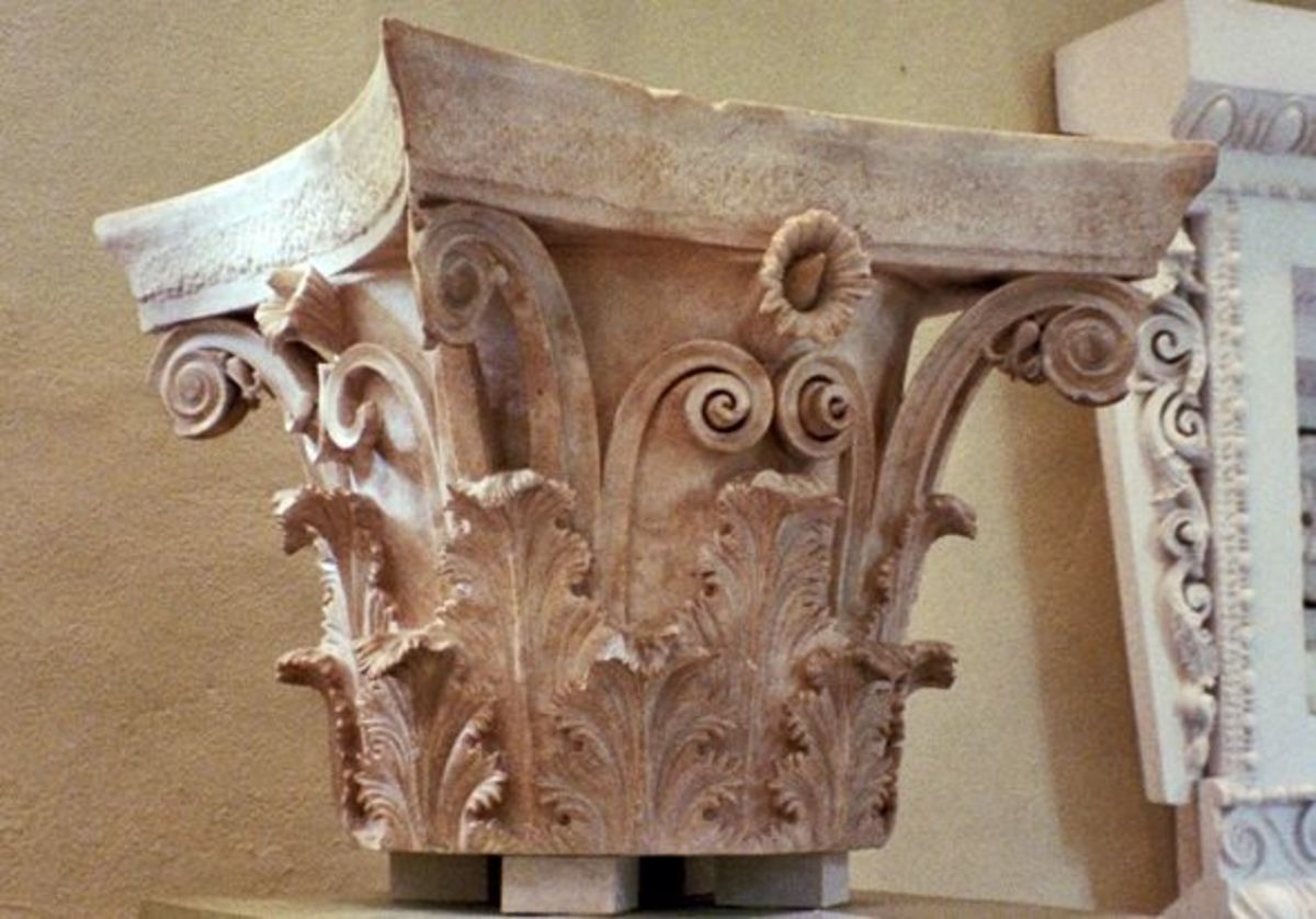 A 4th century BCE Corinthian capital, the ornamental top of a column. A beauty, isn't it? It was found buried near the tholos of Asklepios, his circular temple, whose column capitals seem to be copied from it. Scholars guess it was an architect's mod