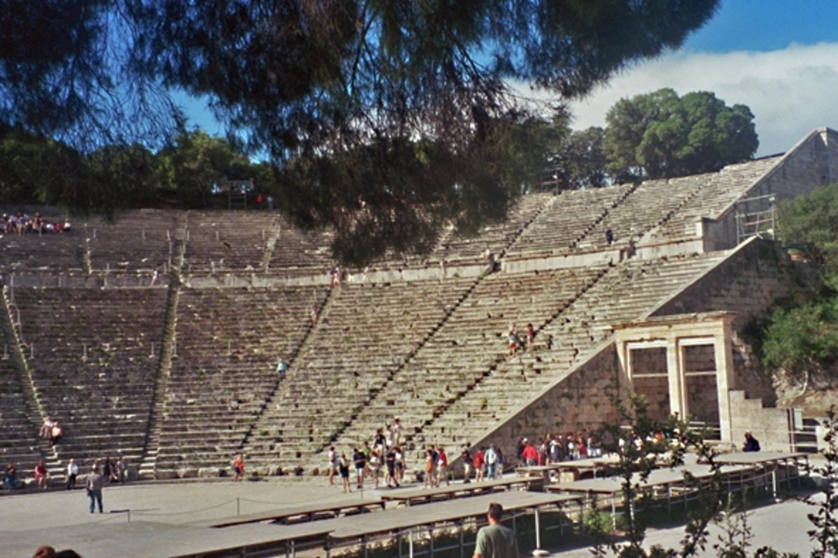 Epidaurus Theater, 4th century BCE. The architect was Polykleitos the Younger, son of the famous sculptor Polykleitos (artist of the Diadoumenos sculpture I showed in Part IIB).