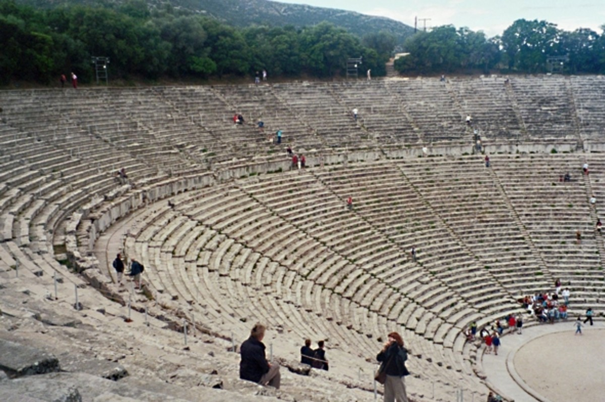 Epidaurus Theater, the Cavea (seating area). Some scholars think the upper levels were a Hellenistic or Roman addition. Its current configuration seats 12,300.