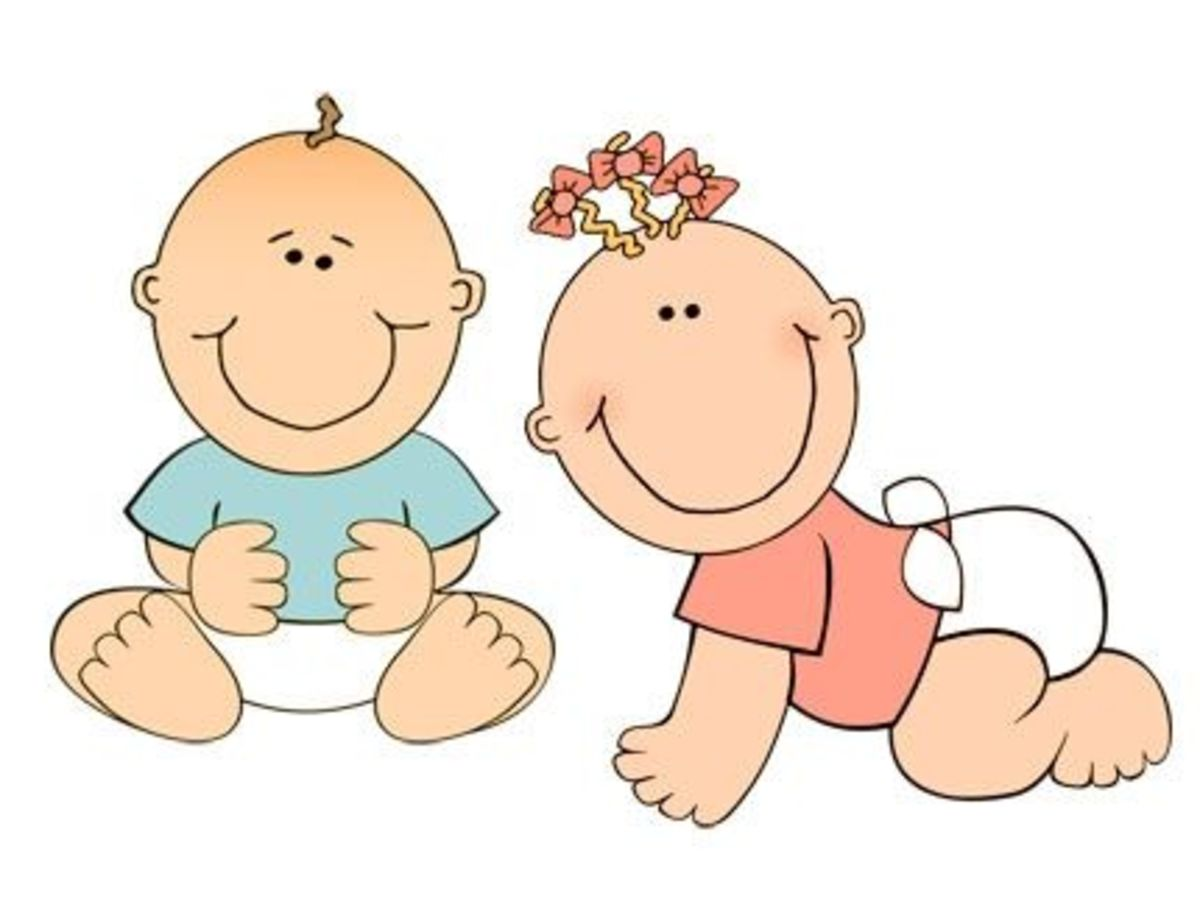 Cute baby clip art graphic, boy baby crawling and girl baby sitting
