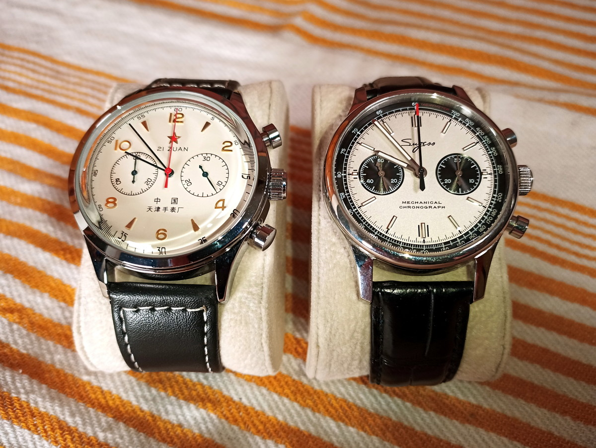 The fake Seagull 1963 alongside a genuine Sugess Chronograph equipped with a Seagull mechanical movement