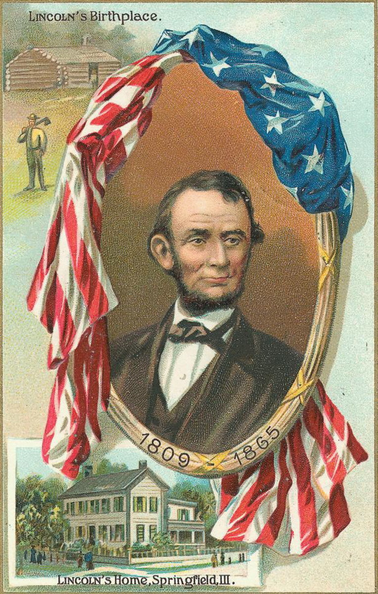 Old postcard portrait of Abraham Lincoln showing his log cabin boyhood home and the home in Springfield, Illinois he lived in as an adult