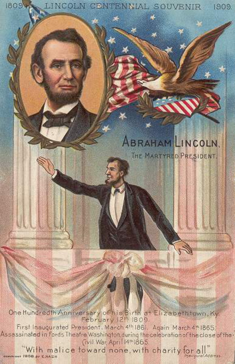 "Commemorative Abraham Lincoln antique postcard centennial souvenir, calling him ""The Martyred President"""