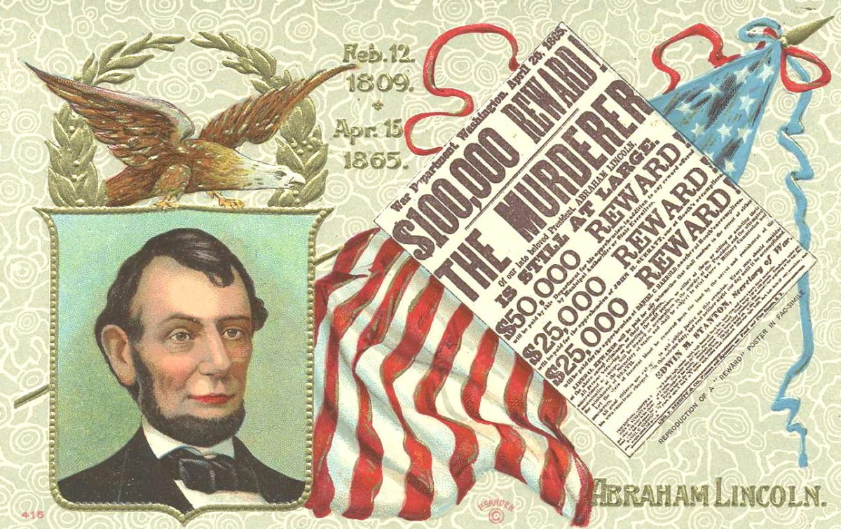 Old postcard with portrait of Lincoln and reward poster for his killer