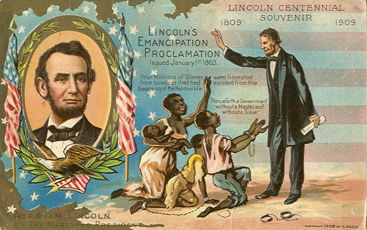 Centennial souvenir old postcard depicting Lincoln's Emancipation Proclamation effect on slaves