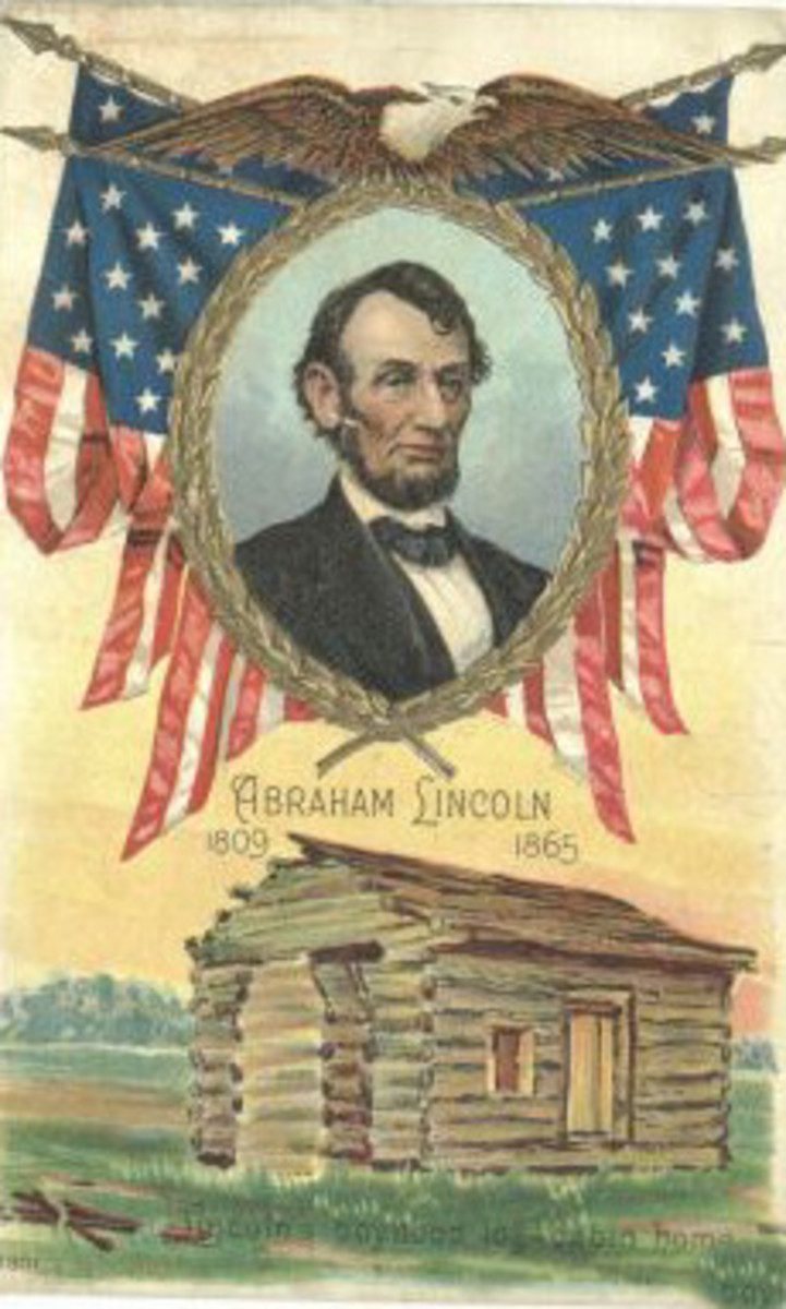 Old postcard with portrait of Lincoln and the log cabin in which he was born