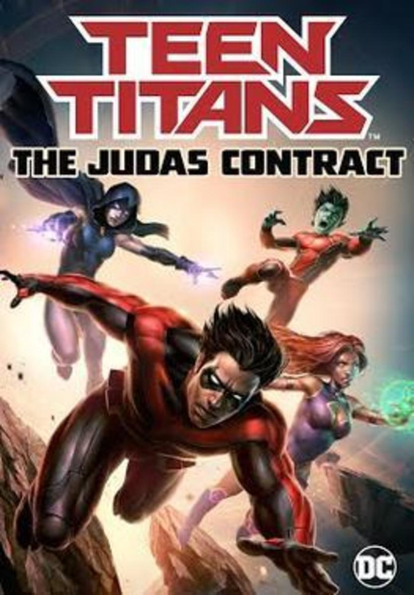 The promotional poster and DVD poster for Teen Titans: The Judas Contract movie.