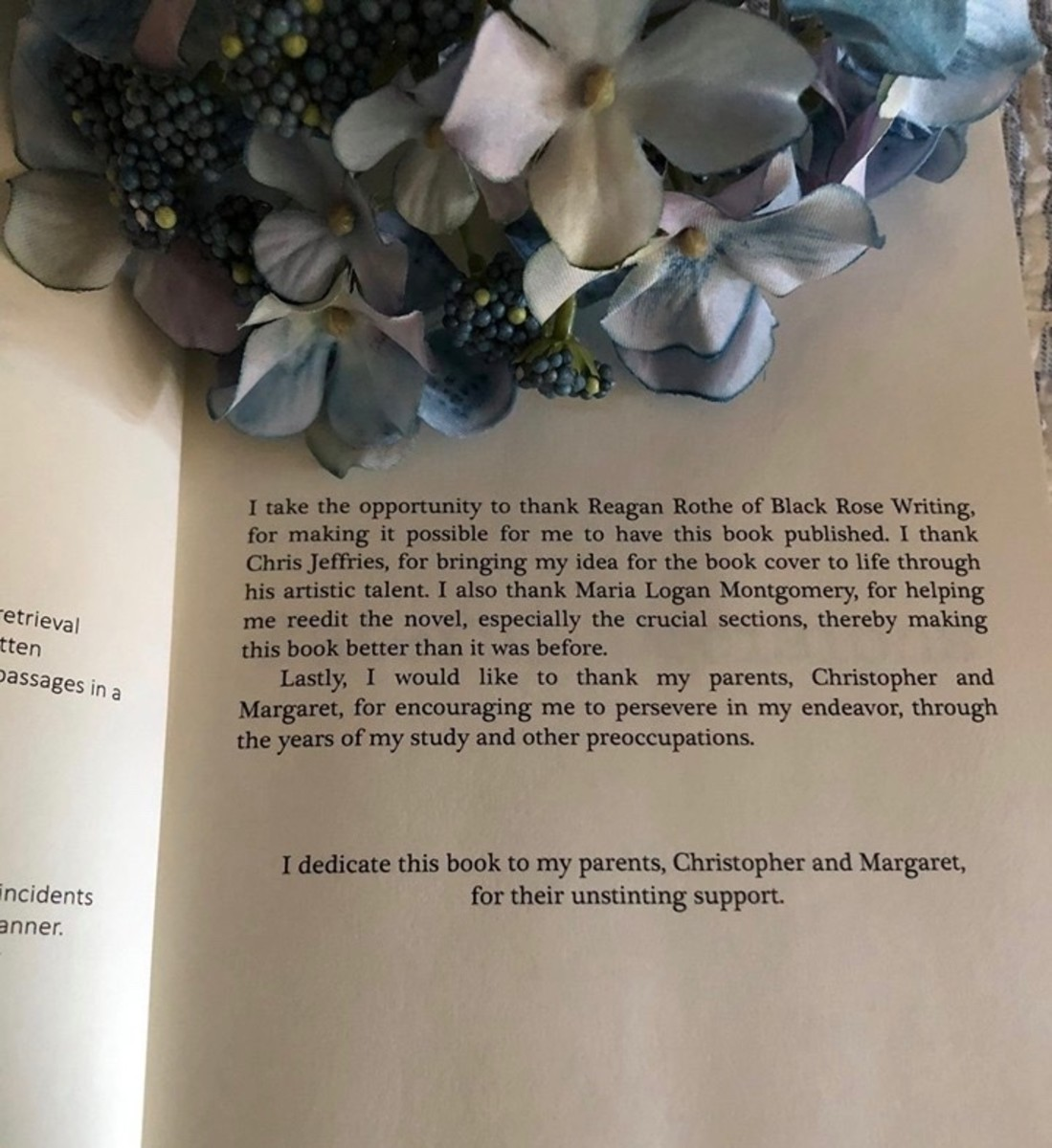 The acknowledgements page from one of my favorite authors, Trevor D'Silva.