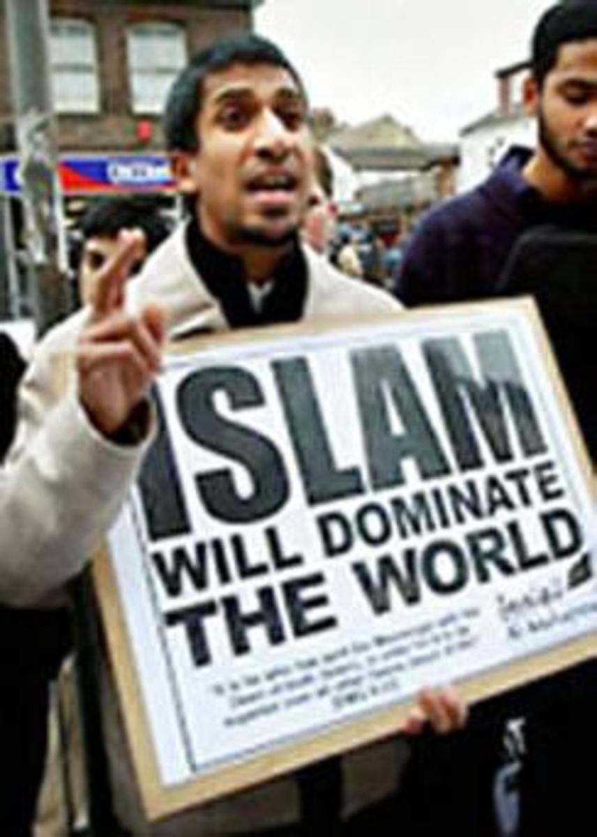 A protest procession by Muslim extremists in London