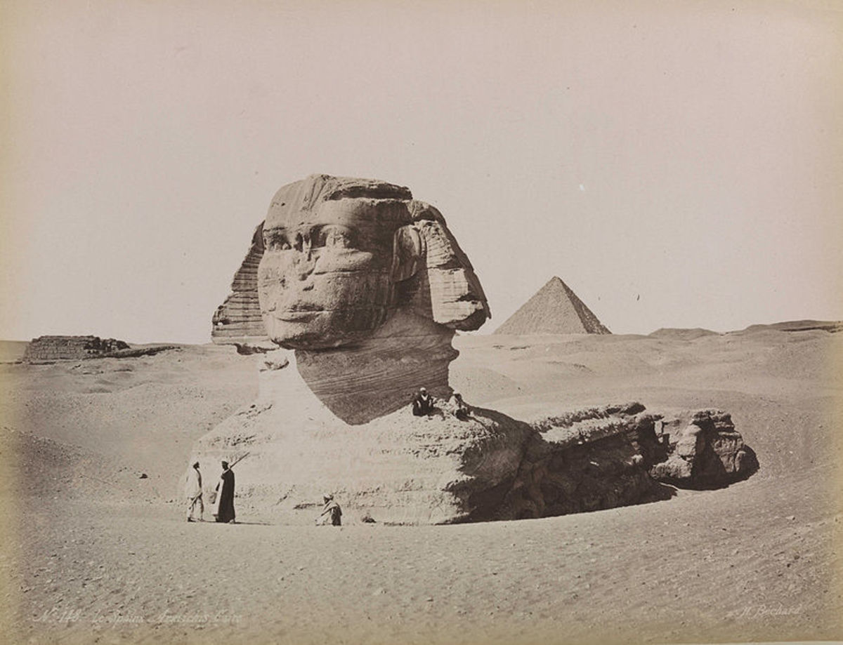 The Great Sphinx in about 1880, partly under the sand