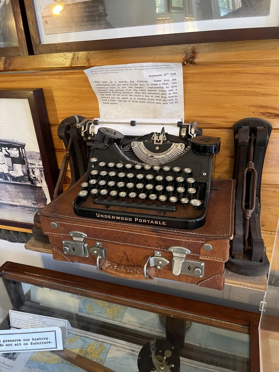 Portable typewriter in Hemingway's Key West home, where he did 70% of his writing.  Photo used with photographer's permission.