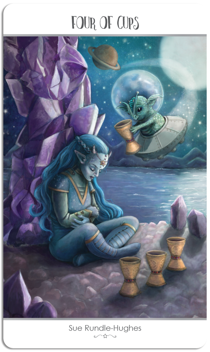 The Four of Cups is about finding rest. You need to give yourself time to heal. Constantly being on the go leads to confusion.