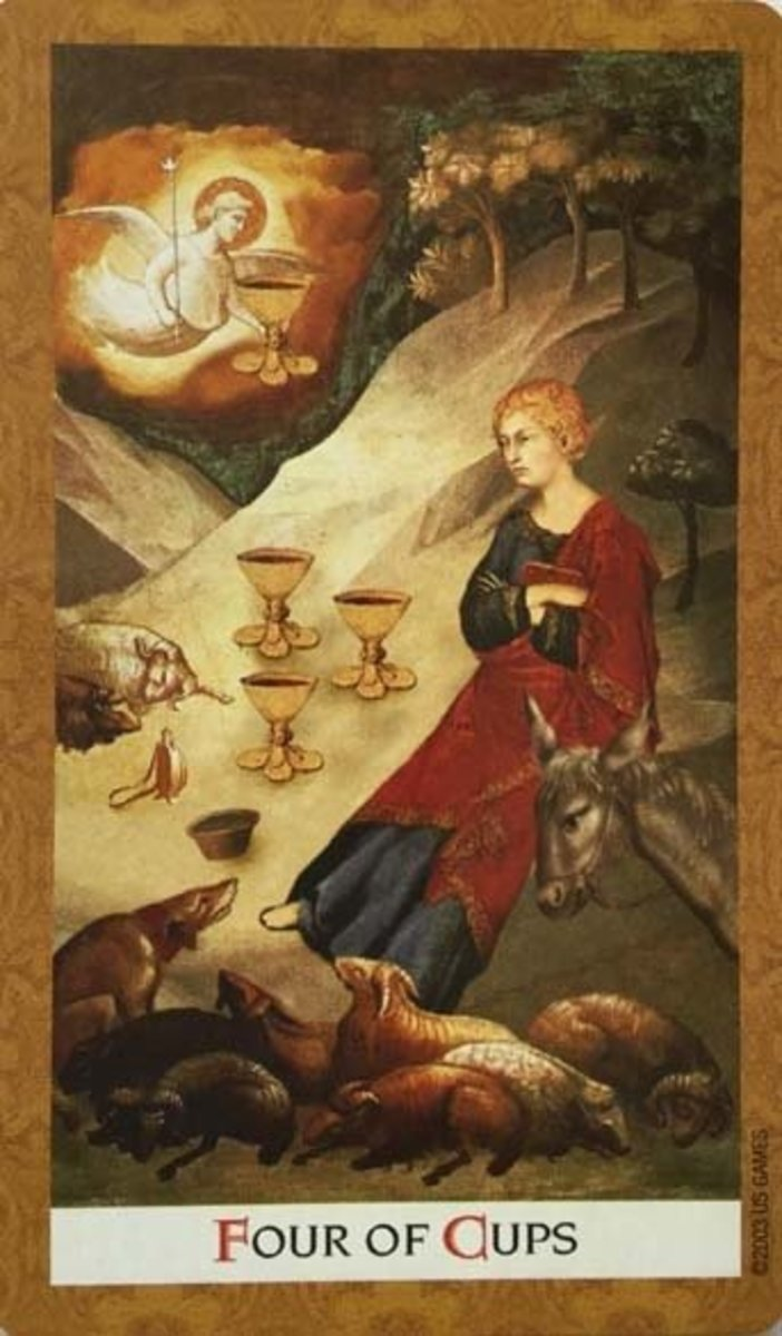 The Four of Cups encourages you to be comfortable with yourself. Don't always chase after new opportunities. Evaluate your goals and the future you want.