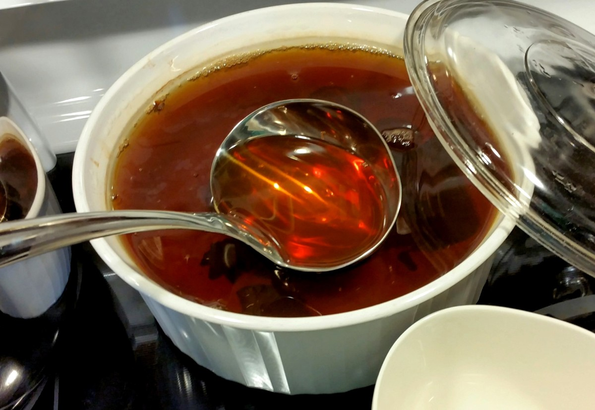 Spicy tea ready to ladle into your cup.
