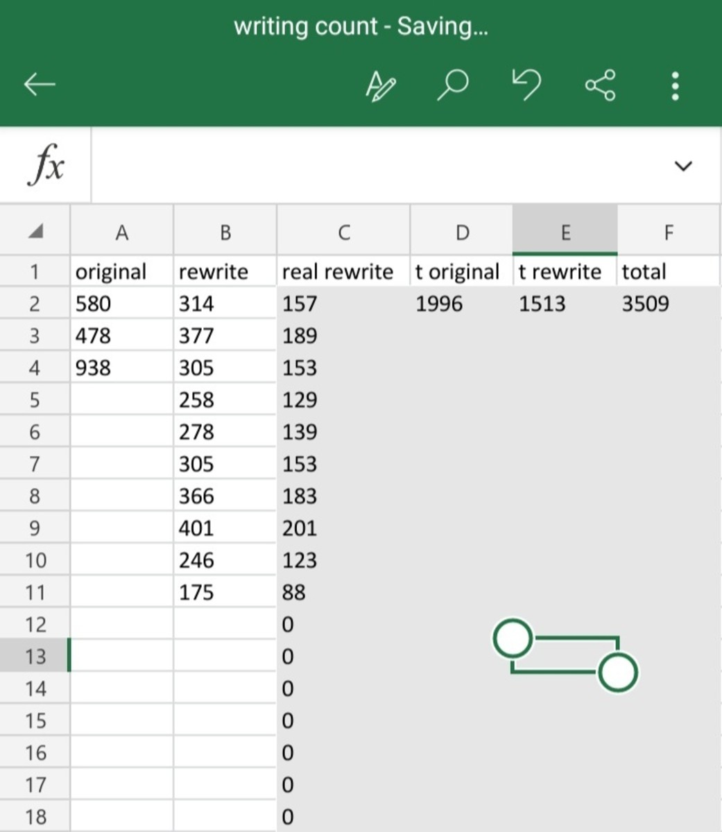 """The daily calculations tab of my """"writing count"""" Excel spreadsheet. It was a busy day."""